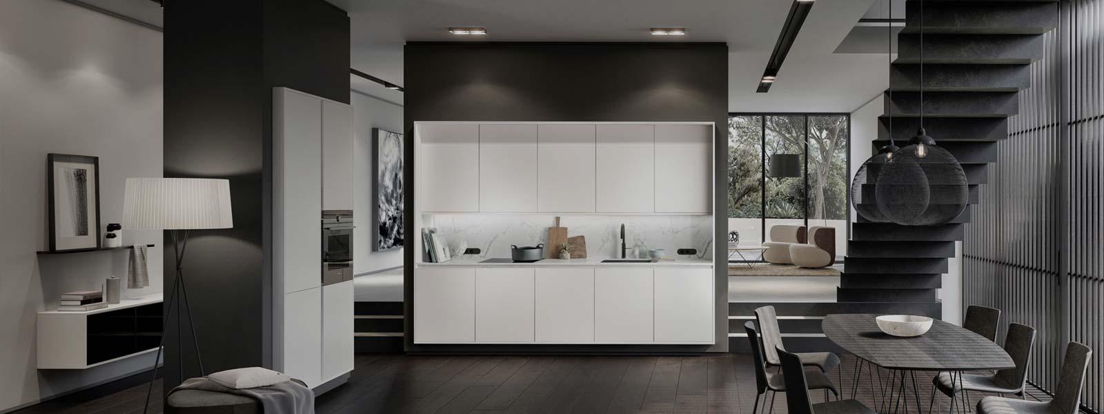 Een witte SieMatic Pure keuken in een ingerichte woning met in totaal tien keukenkastjes. Er zijn een gootsteen en kookplaat ingebouwd in het keukenblok.