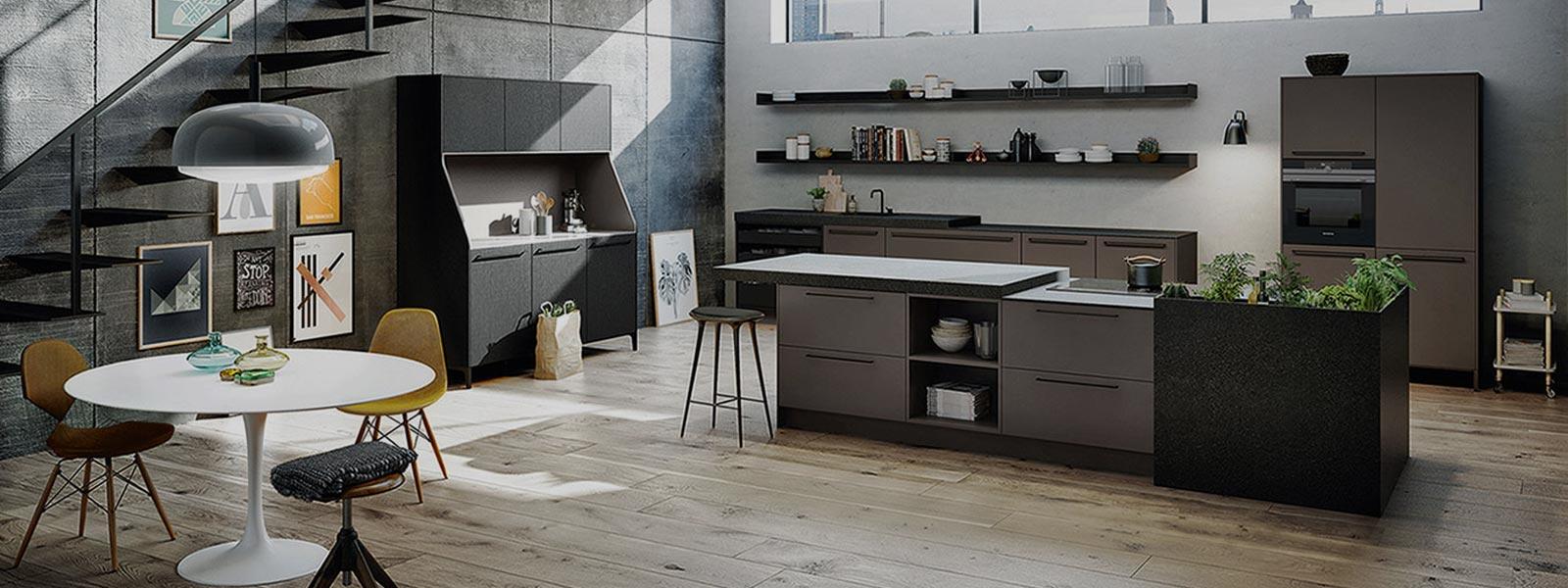 Compleet ingerichte SieMatic Urban keuken. De keuken is afgewerkt met grijs en zwart tinten.