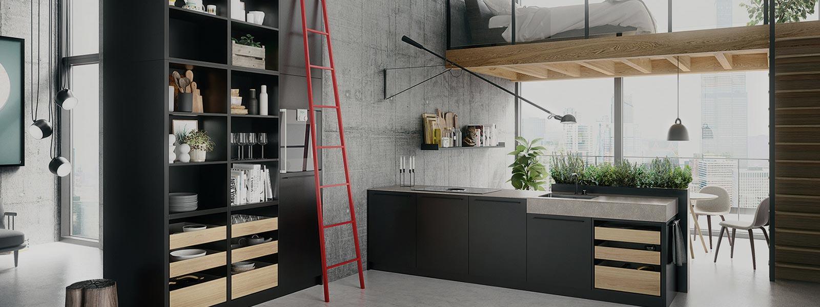 SieMatic Urban keuken met hoge zwarte kasten en een zwart keukenblok van vijf keukenkasten.