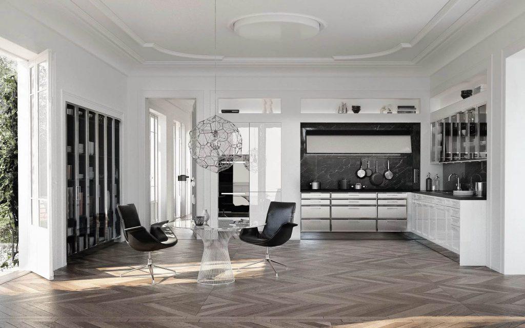 Compleet ingerichte SieMatic Classic Beauxarts keuken met zwart en grijs tinten.