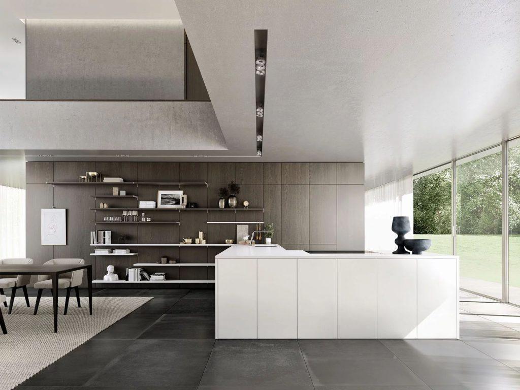 SieMatic Pure titanium witte hoekkeuken met ingebouwde kookplaat en spoelbak.