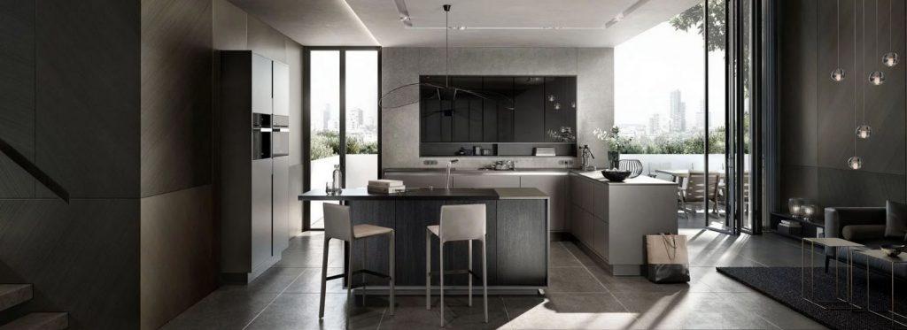 SieMatic Pure hoekkeuken met vrijstand keukeneiland. Het keukeneiland heeft een aanzettafel er tegen aan staan.