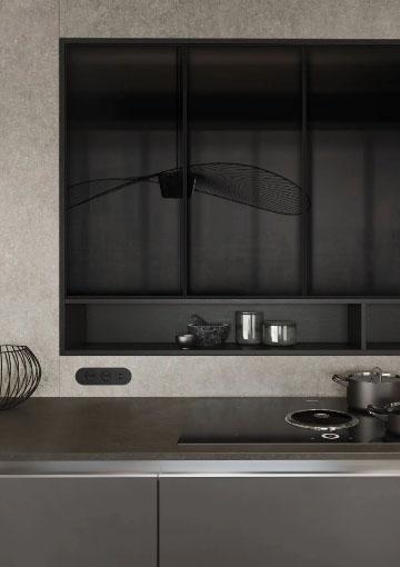SieMatic Pure keukenblok met geïnstalleerde kookplaat.