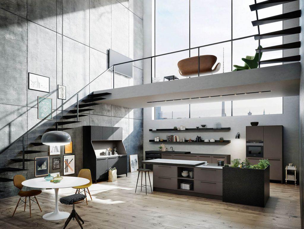 Een open SieMatic Urban keuken met overwegend muskaat kleurige panelen. Het kookeiland in het midden heeft een ingebouwde kookplaat. De grote keukenkast heeft drie grote kasten, een ingebouwde oven, en een klein keukenkastje.