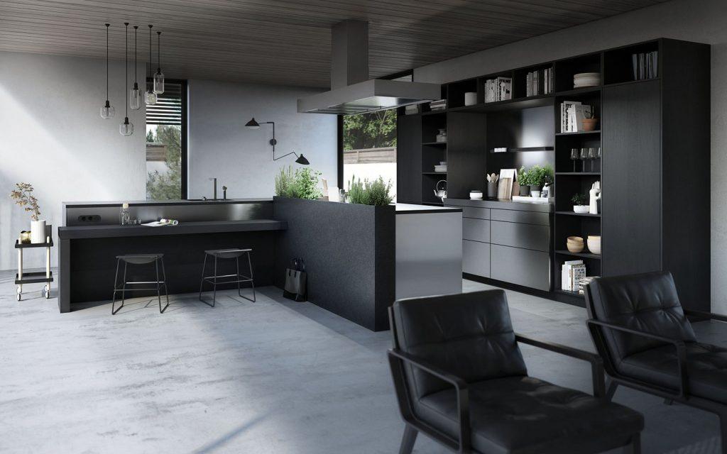 SieMatic Urban complete keuken in het grijs-zwart uitgevoerd. Er zijn vier hoge kasten waarvan twee met deur en in het midden daarvan een normaal keukenblok.