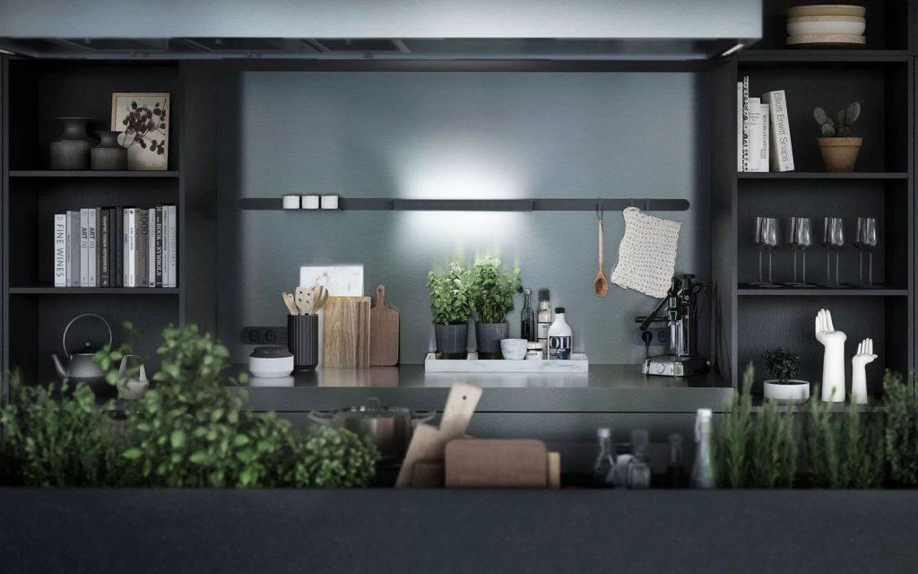 SieMatic Urban keuken met een grijs keukenblok en kasten.