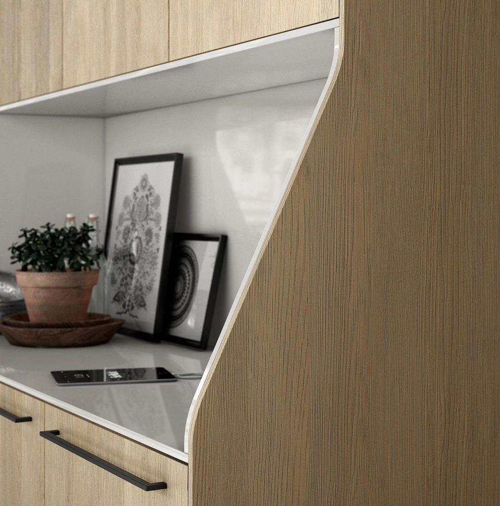 SieMatic Urban keukenblok detail. Dit keukenblok heeft een lichte houtkleur.