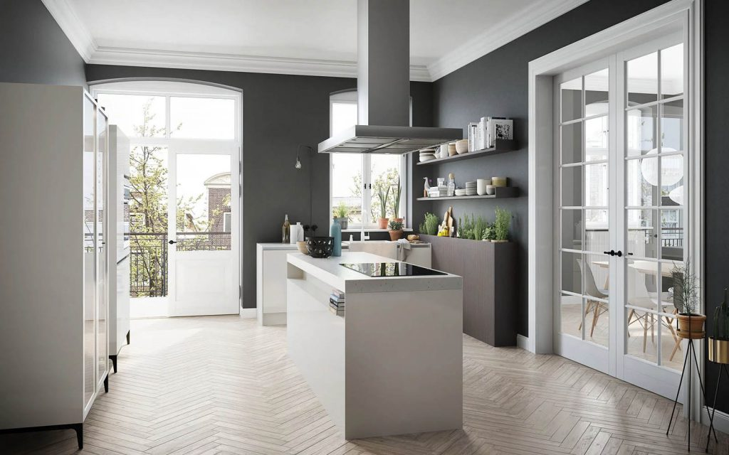 SieMatic Urban keuken met een vrijstaand kookeiland met afzuigkap erboven.